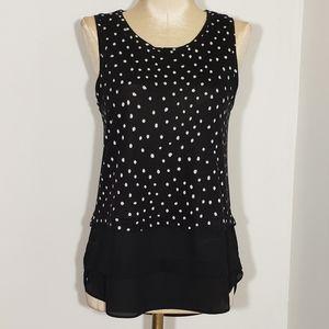 Loft black & white polka dot & black hem size xsp
